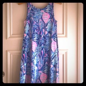 Lily Pulitzer sun dress sleeveless white blue